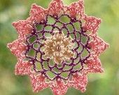 Dreamcatcher crochet, crochet mandala, lace hanger in pink violet cream beaded