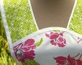 VINTAGE INSPIRED Retro Full Apron  Pink Rose and Lime READY TO SHIP