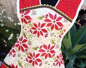 Vintage Inspired Retro Full Apron, Moda 12 Days of Christmas Poinsettia-size LAST ONE