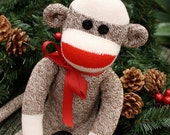 Handmade Red Heel Christmas Sock Monkey size Large READY TO SHIP Ready To Ship