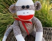 Handmade Classic Red Heel Sock Monkey DEXTER size small Ready To Ship