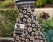 Retro Full Apron Vintage Inspired Black and Ivory Floral M/L READY TO SHIP