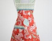Plus Size Retro Womens Apron Kate Spain Fandango Fabric Orange Pink Blue NEXT SIZE UP