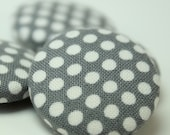 Gray Polka Dot Fabric Covered Magnet Set Refrigerator Office Organization Home Office