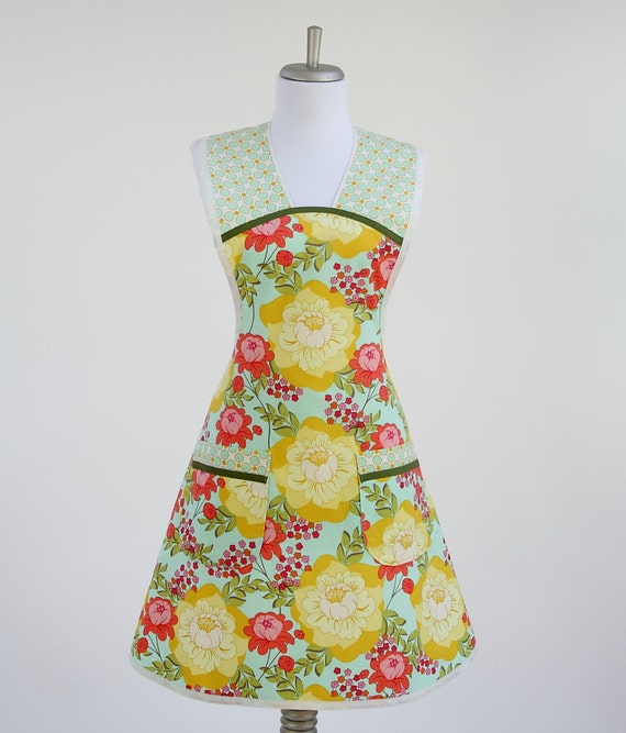 Retro Mother's Day Apron Splashy Rose Yellow, Blue, Orange and Green