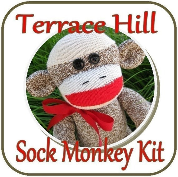 Make Your Own Sock Monkey Kit DIY Pattern and Instructions BROWN