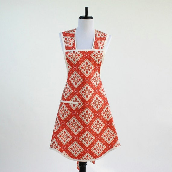 Womens Retro Cooking Apron Orange Cream and Tangerine
