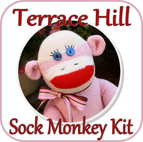 Make Your Own PINK Sock Monkey Kit DIY Pattern Supplies and Instructions PINK