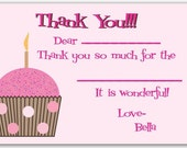 Cupcake Fill In the Blank Thank You Cards