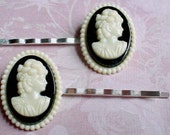 Pair of CAMEO HAIRPINS - Black & Milky White Hairpins, Hair Jewelry, Cameo Woman, Great for Youth,