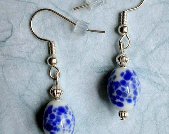 Upcycled Vintage GLASS BEAD EARRINGS - Dangles, White with Blue Spots, Repurposed Jewelry, Under 10 Dollars