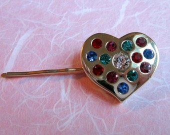 UPCYCLED HEART HAIRPIN, Upcycled, Large, Gold with Colored Rhinestones, Ooak Repurposed Hair Jewelry, Under 10 Dollars