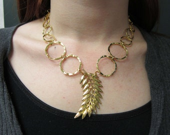 FEATHER or LEAF NECKLACE, Upcycled Jewelry, with Wavy Circles Gold Chain, Repurposed From Vintage Pendant, Nature, Under 10 Dollars