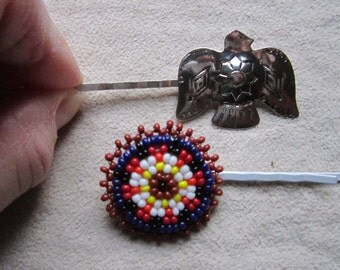 UPCYCLED SOUTHWESTERN HAIRPINS - Set of 2, SilverTone Thunderbird and Colorful Seed Bead Circle, Repurposed Hair Jewelry, Under 10 Dollars