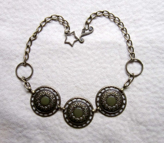 REPURPOSED METAL NECKLACE - Fancy Circles Design, Bronze or Antique Gold Color, Upcycled From Belts