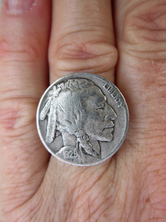 Repurposed BUFFALO NICKEL RING, Vintage 1929 Nickel Coin, Indian Head, Coin Jewelry, Wide Adjustable Band