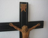 Vintage Crucifix, Black Painted Wood with a Plaster Rendition of Jesus Christ