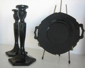 Black Glass Candlesticks and Dish