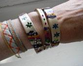 vintage. Ornate Indian Wood Cream Colorful Bangles- set of 3