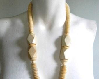 vintage. 70s Cream Bone Statement Necklace /  Tribal African Necklace