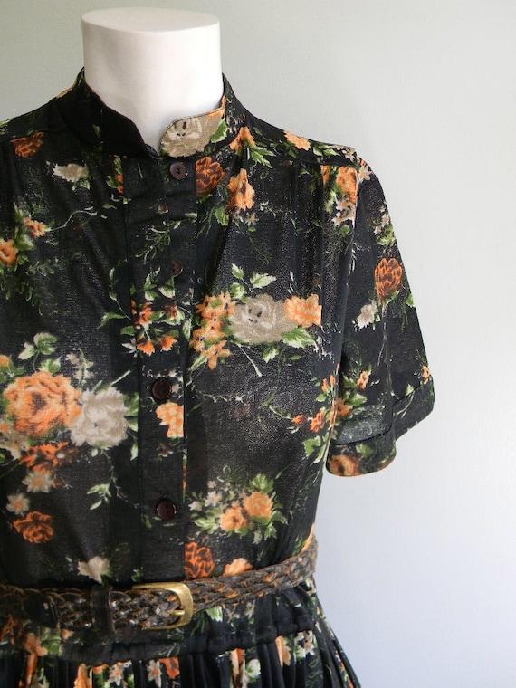vintage. 70s Sheer Floral Black Dress