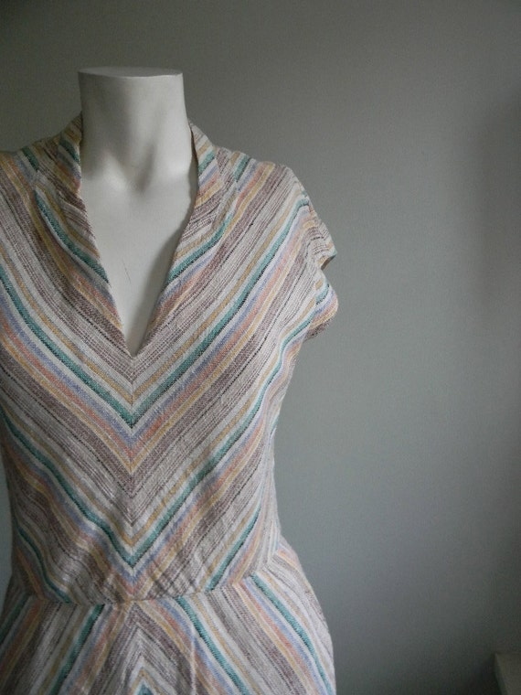 vintage.70s I MAGNIN Cotton Chevron Striped Dress