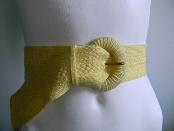 vintage. 70s Nylon Woven Belt  / Bright Yellow Belt / S M