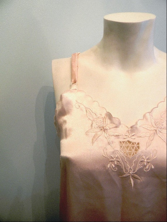 vintage. 80s Pretty Pink Extra Long Cami Nightie