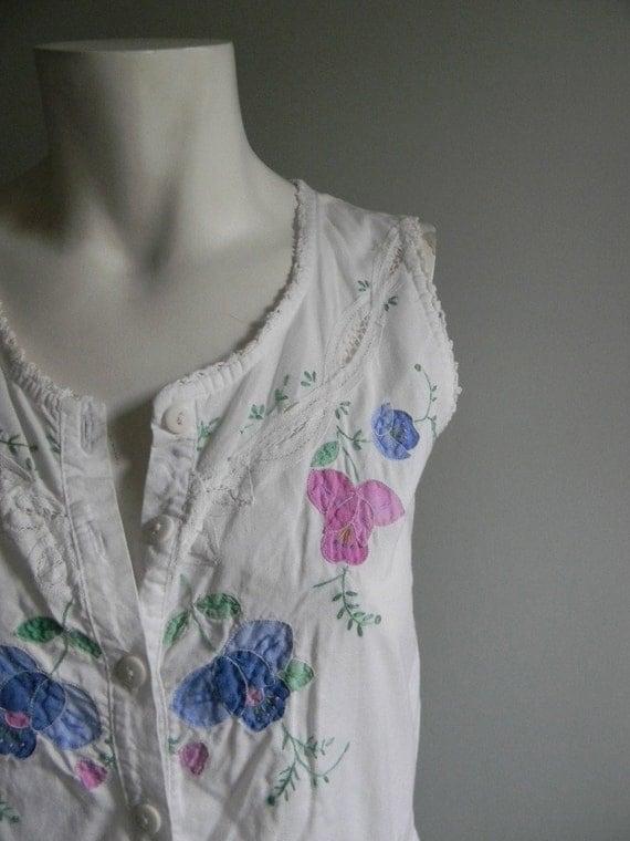 SALE ////////// vintage. 70s White Cotton Tank Dress