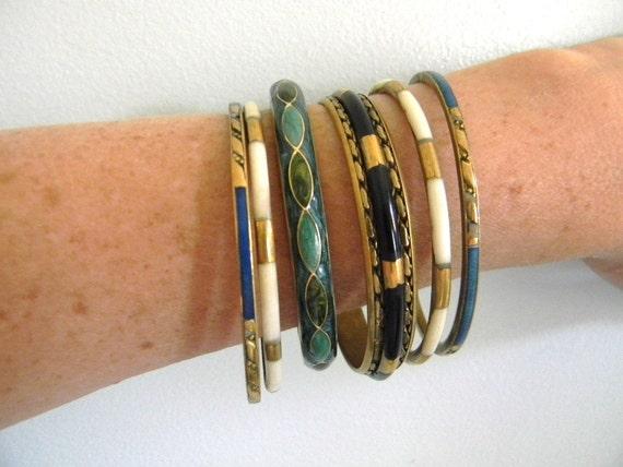 RESERVED for TRISTA //// vintage. Blue and Green Enamel Gold Metal Hinge Bracelet
