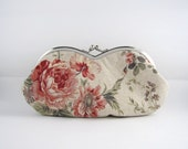 NEW sunglass / eyeglasses case - rose on beige