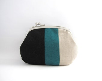 Frame Purse  Wallet - linen patchwork side lock pouch