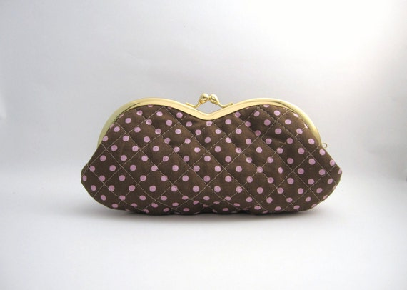 sunglasses case- pink polka dots quilt- snap case