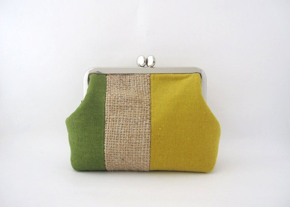metal frame pouch- linen stripe patchwork