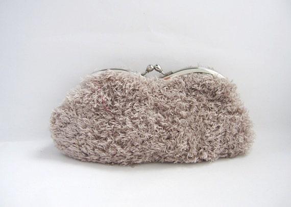 Sunglasses / Eyeglass Case- light grey fur -snap case- frame purse