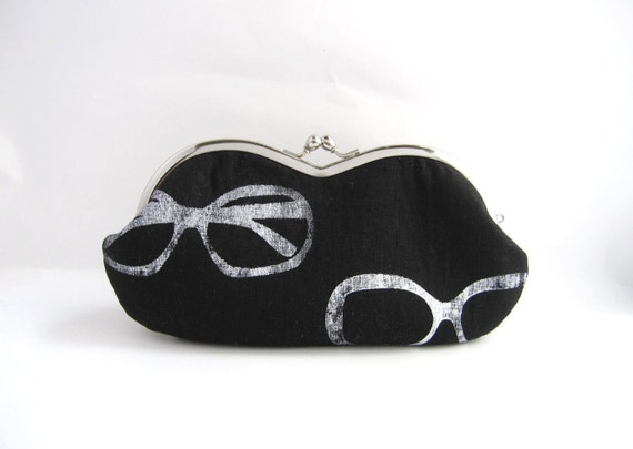 Sunglasses / Eyeglass Case -sunglasses on black linen