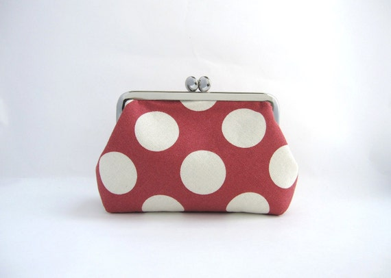 metal frame pouch- white dots on dark red-digital camera snap case