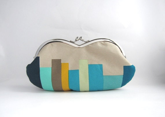 Frame sunglasses case/ Clutch Purse- stripe on beige -blue