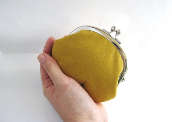 SALE Frame Coin Purse-- mustard yellow linen