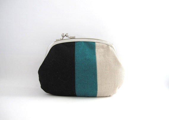 Frame Purse  Wallet - linen patchwork side lock pouch