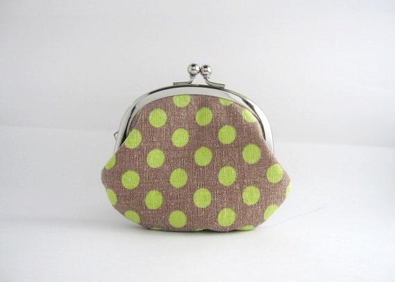 silver frame coin purse- green dots on gray
