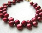 LAST ONE - Cranberry Red Zig Zag Pearl Bracelet