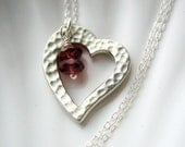 Silver Hammered Heart Necklace - Garnet Rondelle - Valentine's Day