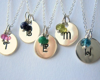 Initial Birthstone Necklace - Hand Stamped  - Sterling Silver - Personalized - The Mini