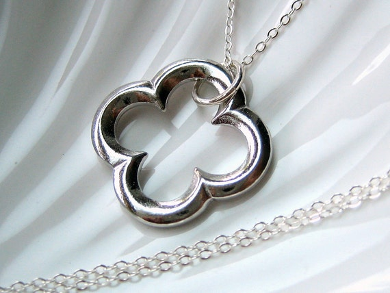Silver Clover Necklace - LARGE