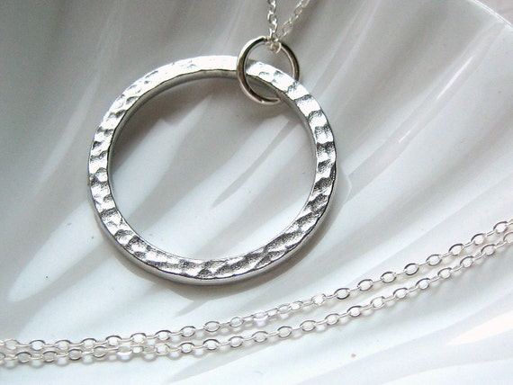 Eternity Circle Necklace - Silver Hammered Finish