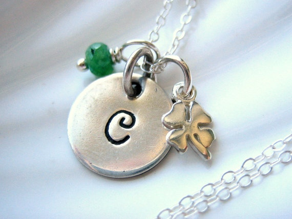 Lucky Four Leaf Clover Initial Charm Necklace - Emerald - Sterling Silver - Hand Stamped - Personalized
