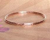 14k Rose Gold Skinny Hammered Bangle Bracelet, Minimalist Jewelry, Boho Jewelry, Blue Wave Jewelry