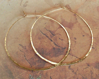 Hammered Gold Hoops, Delicate 14K Yellow Gold Earrings, Rose Gold Hoops, Sterling Silver Earrings, Large 2 1/4 inch Wire Hoop Earrings