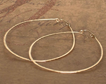 Big Hoop Earrings, 3 Inch Hoops, Extra Large Hoops, Thick Hammered Hoops, Boho Jewelry, Rose Gold Hoop Earring, Sterling Silver Hoop Earring